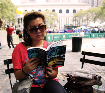 "I wasn't really reading it. Just posing for the camera. Nobody saw me ""tourist-ing."""