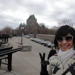 Hersey in front of Chateau Frontenac